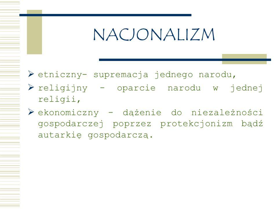 NACJONALIZM  etniczny- supremacja jednego narodu,  religijny - oparcie narodu w jednej religii,  ekonomiczny - dążenie do niezależności gospodarczej poprzez protekcjonizm bądź autarkię gospodarczą.