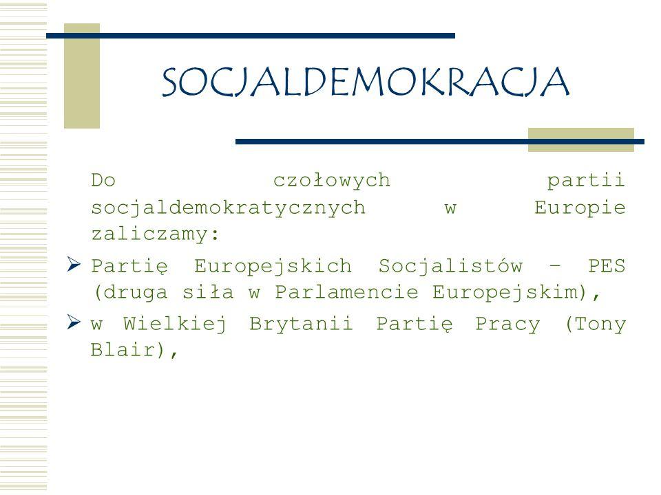 SOCJALDEMOKRACJA Do czołowych partii socjaldemokratycznych w Europie zaliczamy:  Partię Europejskich Socjalistów – PES (druga siła w Parlamencie Europejskim),  w Wielkiej Brytanii Partię Pracy (Tony Blair),