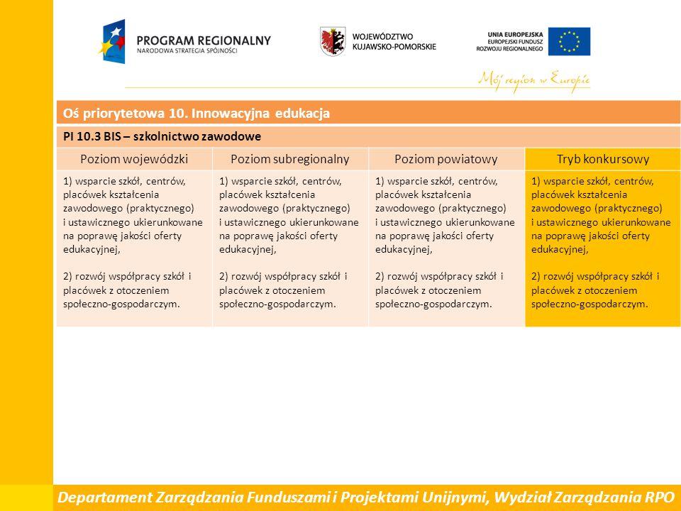 Departament Zarządzania Funduszami i Projektami Unijnymi, Wydział Zarządzania RPO Oś priorytetowa 10. Innowacyjna edukacja PI 10.3 BIS – szkolnictwo z