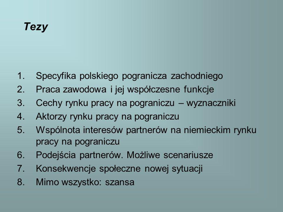 Tezy 1.Specyfika polskiego pogranicza zachodniego 2.Praca zawodowa i jej współczesne funkcje 3.Cechy rynku pracy na pograniczu – wyznaczniki 4.Aktorzy rynku pracy na pograniczu 5.Wspólnota interesów partnerów na niemieckim rynku pracy na pograniczu 6.Podejścia partnerów.