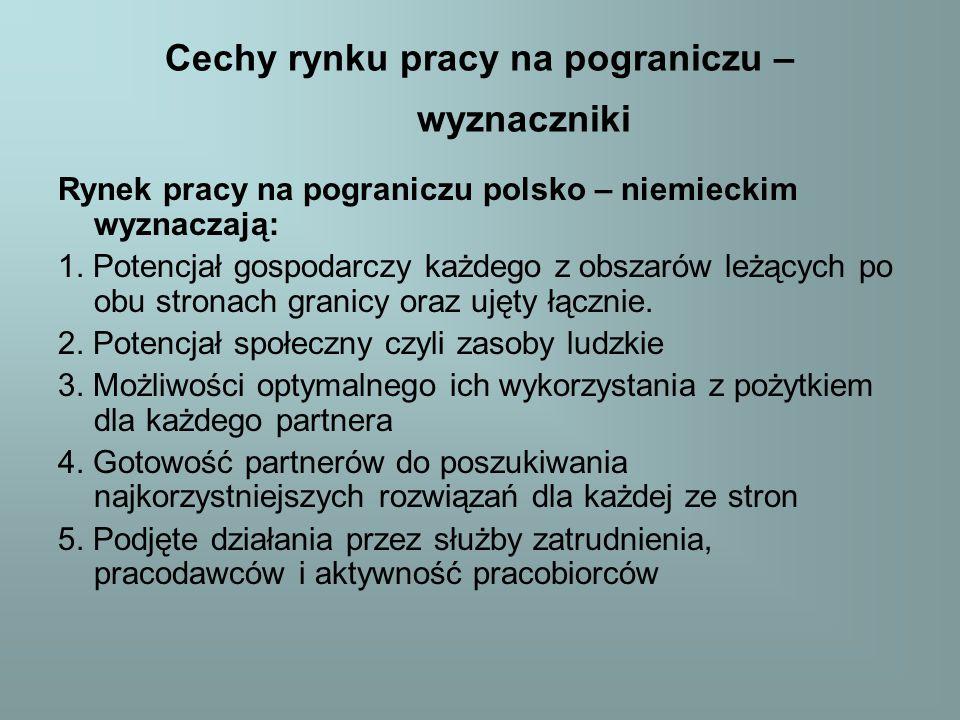 Cechy rynku pracy na pograniczu – wyznaczniki Rynek pracy na pograniczu polsko – niemieckim wyznaczają: 1.