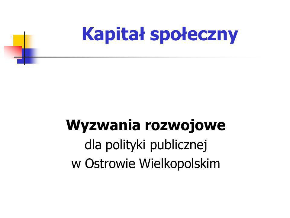 Kapitał społeczny Wyzwania rozwojowe dla polityki publicznej w Ostrowie Wielkopolskim