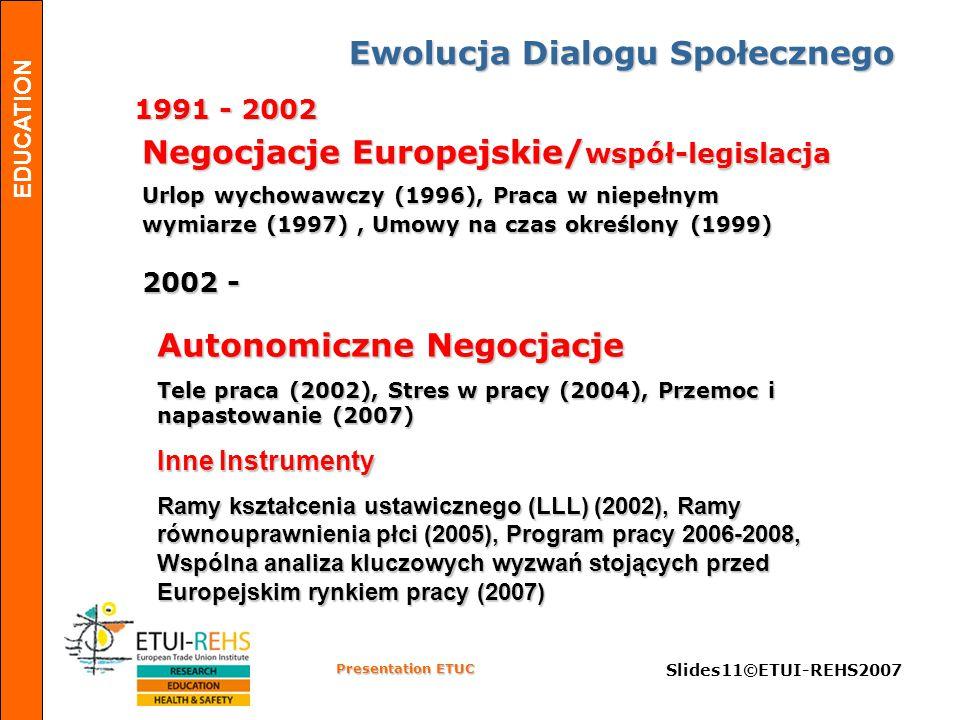 EDUCATION Presentation ETUC Slides11©ETUI-REHS2007 Ewolucja Dialogu Społecznego 1991 - 2002 2002 - Negocjacje Europejskie/ współ-legislacja Urlop wychowawczy (1996), Praca w niepełnym wymiarze (1997), Umowy na czas określony (1999) Autonomiczne Negocjacje Tele praca (2002), Stres w pracy (2004), Przemoc i napastowanie (2007) Inne Instrumenty Ramy kształcenia ustawicznego (LLL) (2002), Ramy równouprawnienia płci (2005), Program pracy 2006-2008, Wspólna analiza kluczowych wyzwań stojących przed Europejskim rynkiem pracy (2007)