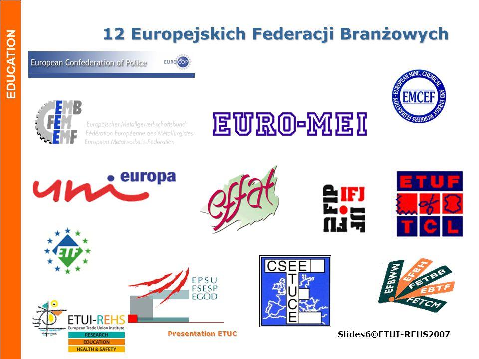 EDUCATION Presentation ETUC Slides17©ETUI-REHS2007 O fensywa w celu Europejskiego rynku pracy Dialogu Społęcznego, negocjacji zbiorowych i partycypacji pracowników Silniejszej Unii Europejskiej Bardziej efektywnych Europejskich rządów w zakresie gospodarczym, społecznym i środowiskowym Silniejszych Związków i silniejszego EKZZ Kongres Kongres