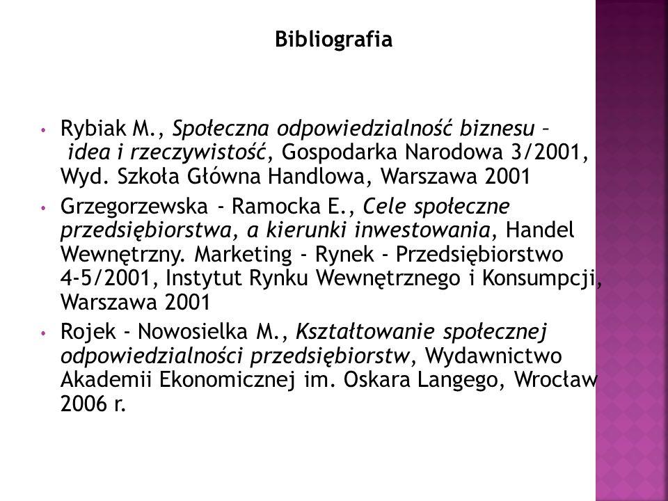 Bibliografia Rybiak M., Społeczna odpowiedzialność biznesu – idea i rzeczywistość, Gospodarka Narodowa 3/2001, Wyd. Szkoła Główna Handlowa, Warszawa 2