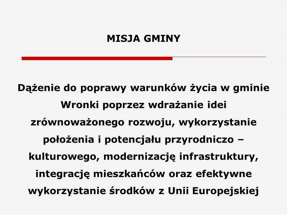MISJA GMINY Dążenie do poprawy warunków życia w gminie Wronki poprzez wdrażanie idei zrównoważonego rozwoju, wykorzystanie położenia i potencjału przy