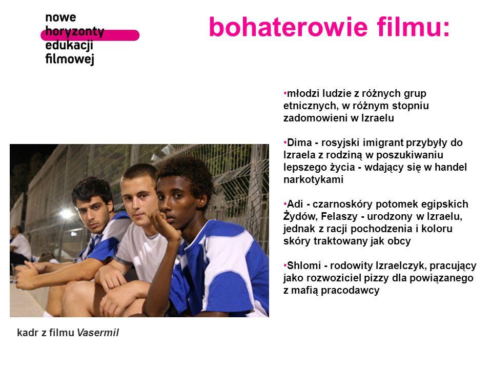 bohaterowie filmu: młodzi ludzie z różnych grup etnicznych, w różnym stopniu zadomowieni w Izraelu Dima - rosyjski imigrant przybyły do Izraela z rodz