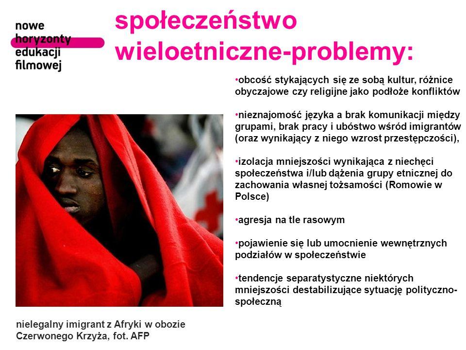 społeczeństwo wieloetniczne-problemy: obcość stykających się ze sobą kultur, różnice obyczajowe czy religijne jako podłoże konfliktów nieznajomość jęz