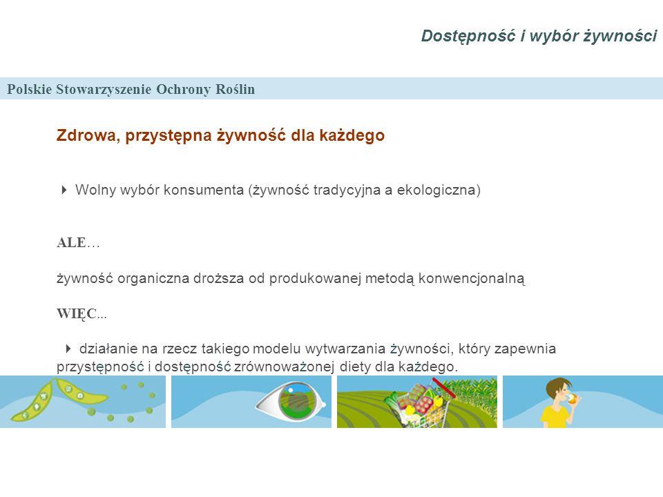 Polskie Stowarzyszenie Ochrony Roślin Zdrowa, przystępna żywność dla każdego  Wolny wybór konsumenta (żywność tradycyjna a ekologiczna) ALE… żywność