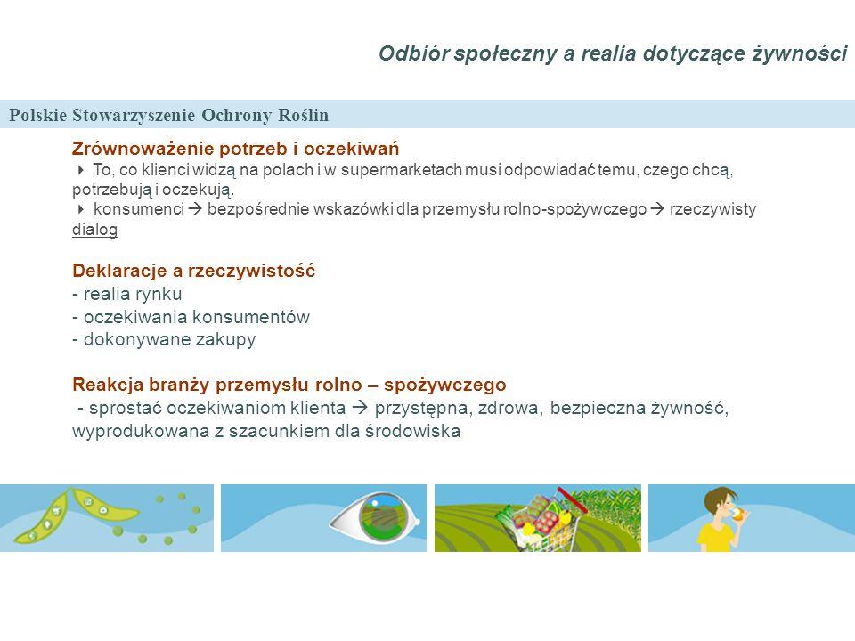 Polskie Stowarzyszenie Ochrony Roślin Odbiór społeczny a realia dotyczące żywności Zrównoważenie potrzeb i oczekiwań  To, co klienci widzą na polach