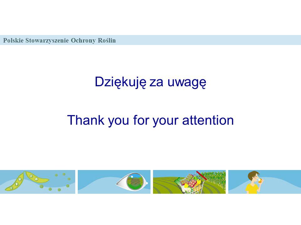 Polskie Stowarzyszenie Ochrony Roślin Dziękuję za uwagę Thank you for your attention