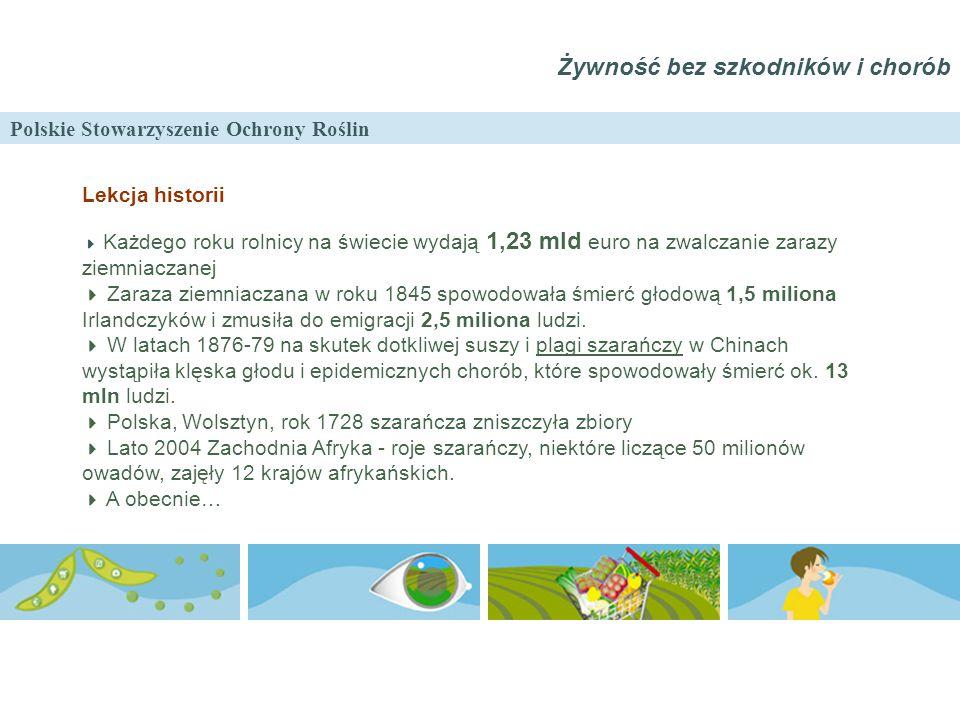 Polskie Stowarzyszenie Ochrony Roślin Żywność bez szkodników i chorób Lekcja historii  Każdego roku rolnicy na świecie wydają 1,23 mld euro na zwalcz