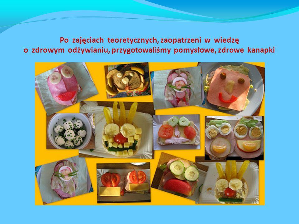 Po zajęciach teoretycznych, zaopatrzeni w wiedzę o zdrowym odżywianiu, przygotowaliśmy pomysłowe, zdrowe kanapki
