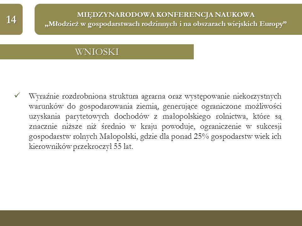 """14 MIĘDZYNARODOWA KONFERENCJA NAUKOWA """"Młodzież w gospodarstwach rodzinnych i na obszarach wiejskich Europy"""" WNIOSKI Wyraźnie rozdrobniona struktura a"""
