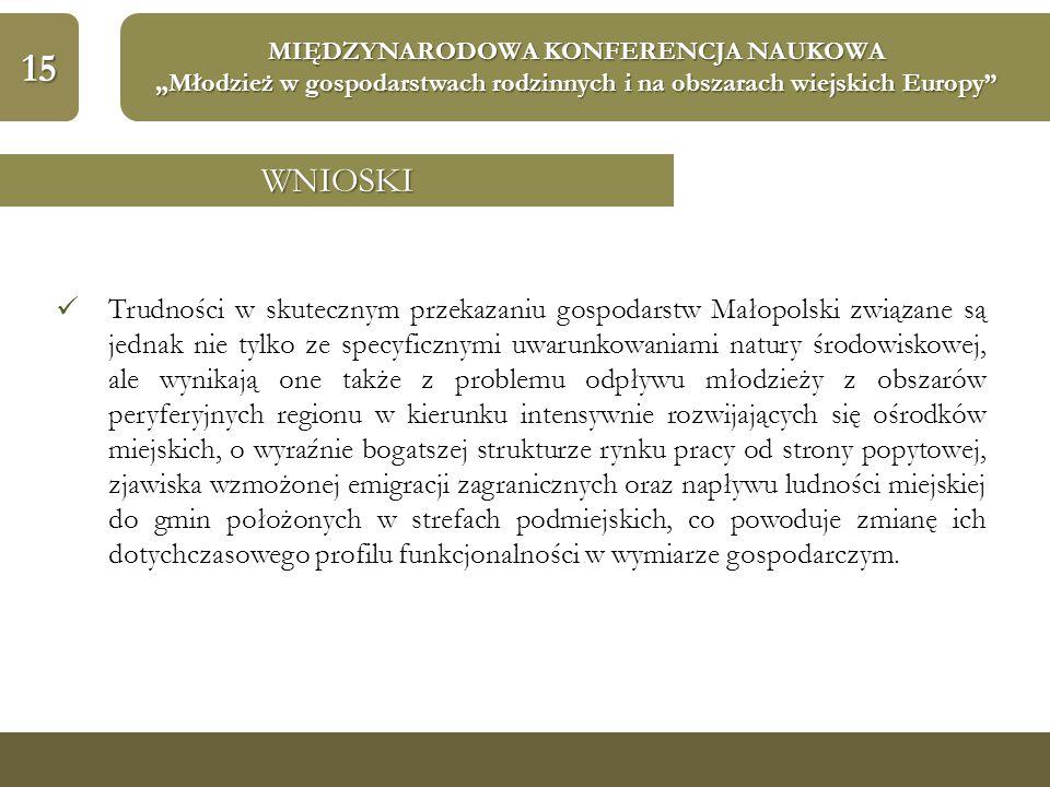 """15 MIĘDZYNARODOWA KONFERENCJA NAUKOWA """"Młodzież w gospodarstwach rodzinnych i na obszarach wiejskich Europy WNIOSKI Trudności w skutecznym przekazaniu gospodarstw Małopolski związane są jednak nie tylko ze specyficznymi uwarunkowaniami natury środowiskowej, ale wynikają one także z problemu odpływu młodzieży z obszarów peryferyjnych regionu w kierunku intensywnie rozwijających się ośrodków miejskich, o wyraźnie bogatszej strukturze rynku pracy od strony popytowej, zjawiska wzmożonej emigracji zagranicznych oraz napływu ludności miejskiej do gmin położonych w strefach podmiejskich, co powoduje zmianę ich dotychczasowego profilu funkcjonalności w wymiarze gospodarczym."""
