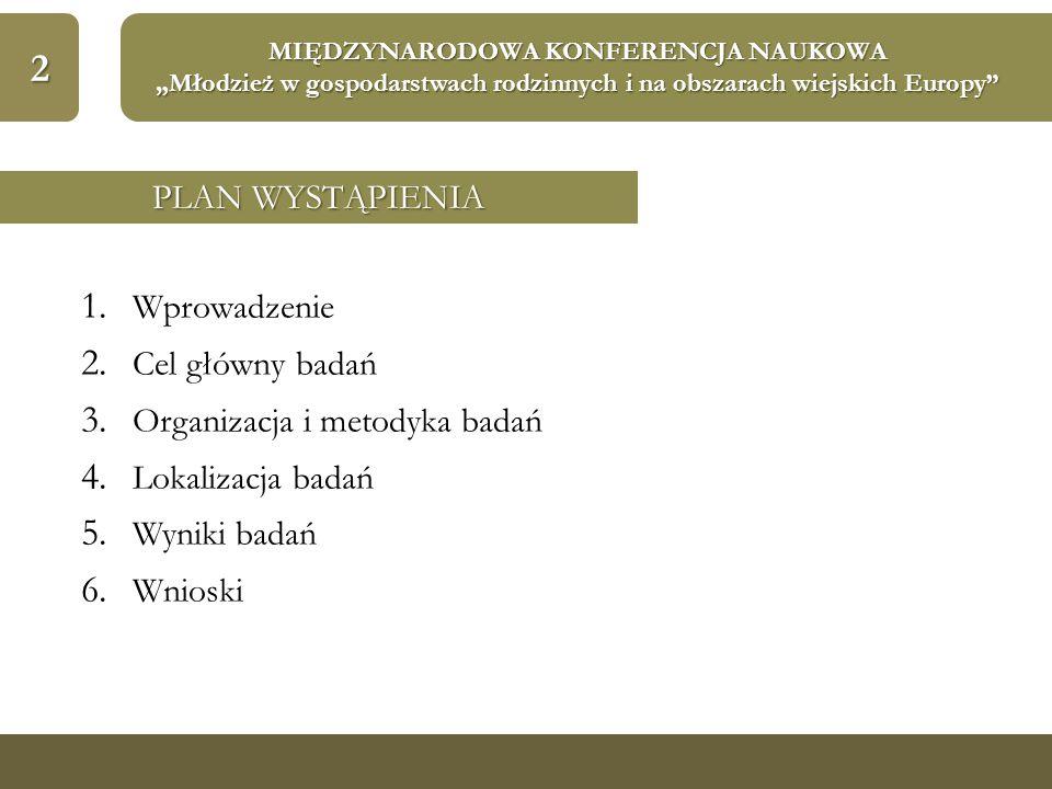 """2 MIĘDZYNARODOWA KONFERENCJA NAUKOWA """"Młodzież w gospodarstwach rodzinnych i na obszarach wiejskich Europy"""" 1. Wprowadzenie 2. Cel główny badań 3. Org"""