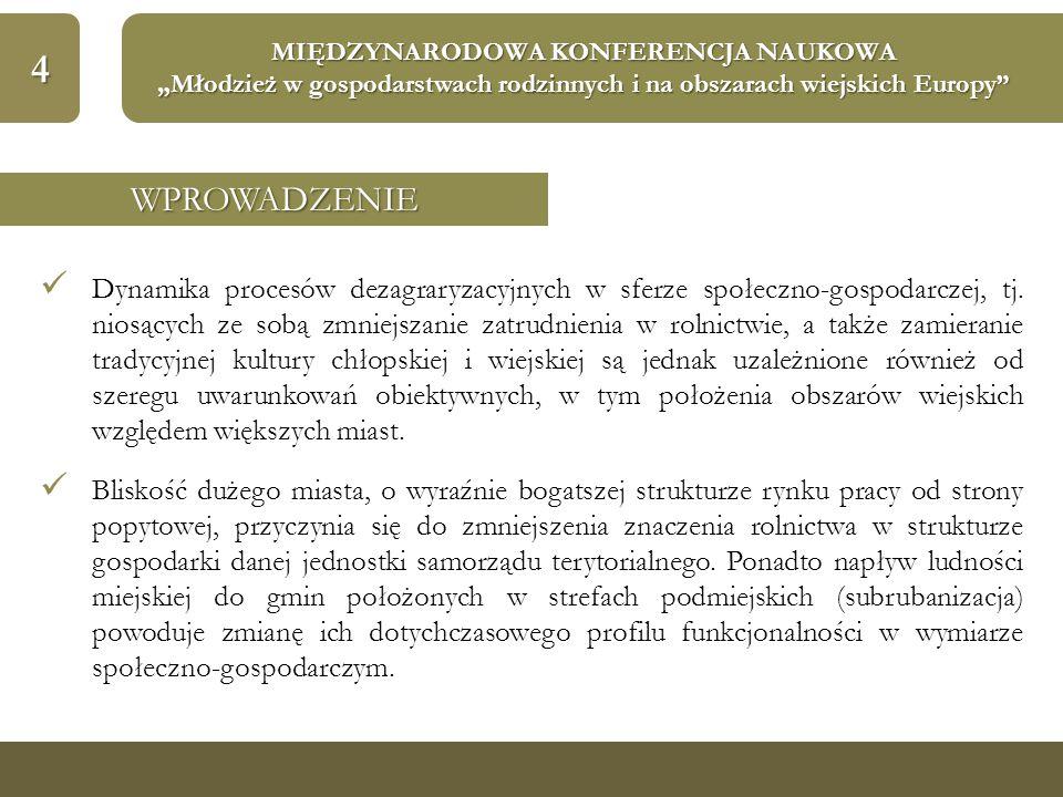 """4 MIĘDZYNARODOWA KONFERENCJA NAUKOWA """"Młodzież w gospodarstwach rodzinnych i na obszarach wiejskich Europy"""" WPROWADZENIE Dynamika procesów dezagraryza"""