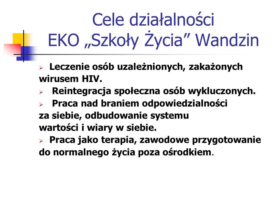 """Cele działalności EKO """"Szkoły Życia Wandzin  Leczenie osób uzależnionych, zakażonych wirusem HIV."""