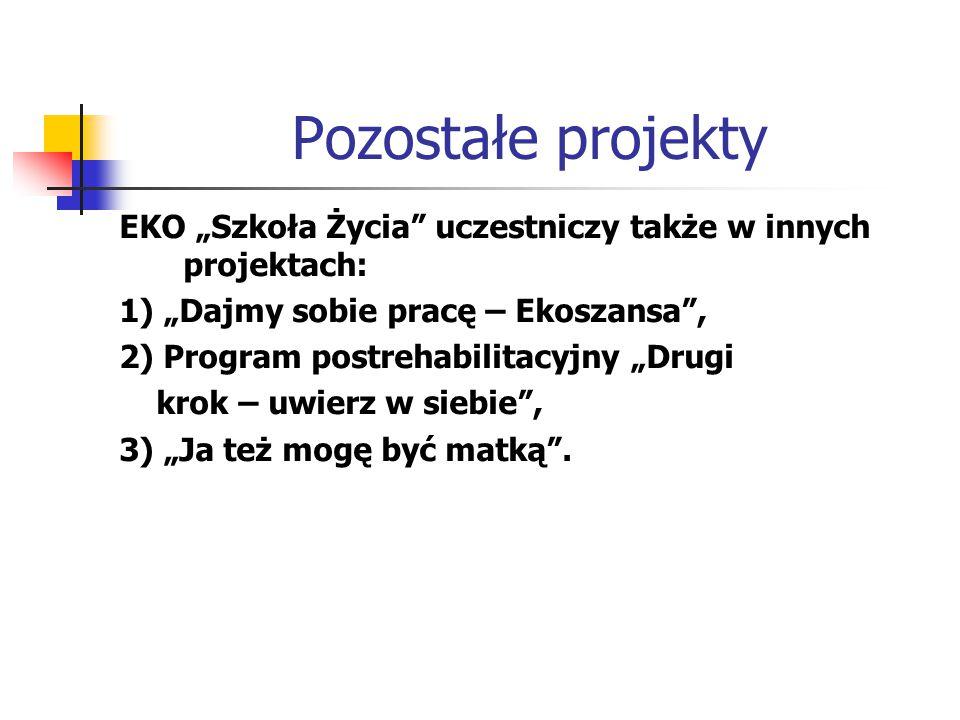"""Pozostałe projekty EKO """"Szkoła Życia"""" uczestniczy także w innych projektach: 1) """"Dajmy sobie pracę – Ekoszansa"""", 2) Program postrehabilitacyjny """"Drugi"""