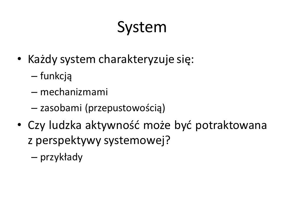 System Każdy system charakteryzuje się: – funkcją – mechanizmami – zasobami (przepustowością) Czy ludzka aktywność może być potraktowana z perspektywy