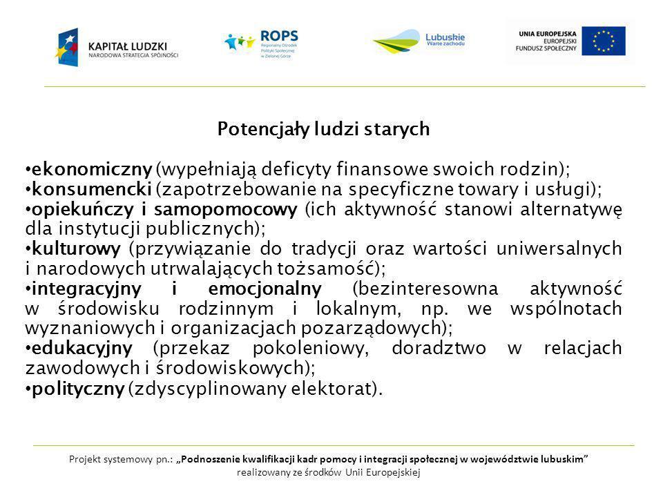 """Projekt systemowy pn.: """"Podnoszenie kwalifikacji kadr pomocy i integracji społecznej w województwie lubuskim realizowany ze środków Unii Europejskiej Potencjały ludzi starych ekonomiczny (wypełniają deficyty finansowe swoich rodzin); konsumencki (zapotrzebowanie na specyficzne towary i usługi); opiekuńczy i samopomocowy (ich aktywność stanowi alternatywę dla instytucji publicznych); kulturowy (przywiązanie do tradycji oraz wartości uniwersalnych i narodowych utrwalających tożsamość); integracyjny i emocjonalny (bezinteresowna aktywność w środowisku rodzinnym i lokalnym, np."""