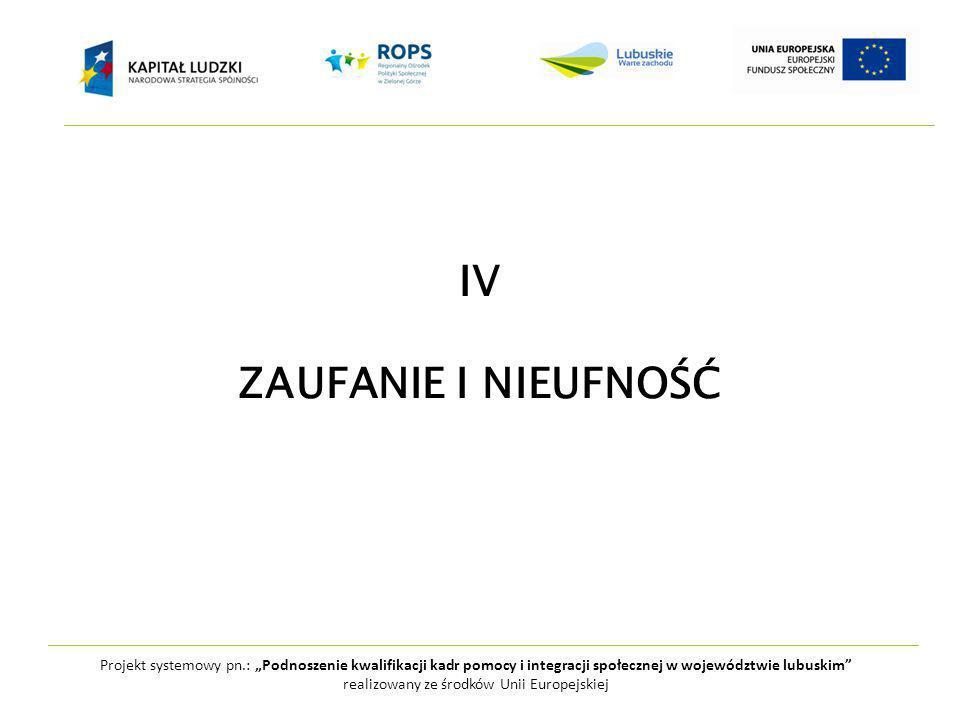 """Projekt systemowy pn.: """"Podnoszenie kwalifikacji kadr pomocy i integracji społecznej w województwie lubuskim realizowany ze środków Unii Europejskiej IV ZAUFANIE I NIEUFNOŚĆ"""