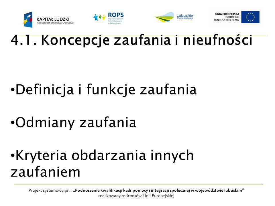 """Projekt systemowy pn.: """"Podnoszenie kwalifikacji kadr pomocy i integracji społecznej w województwie lubuskim realizowany ze środków Unii Europejskiej 4.1."""
