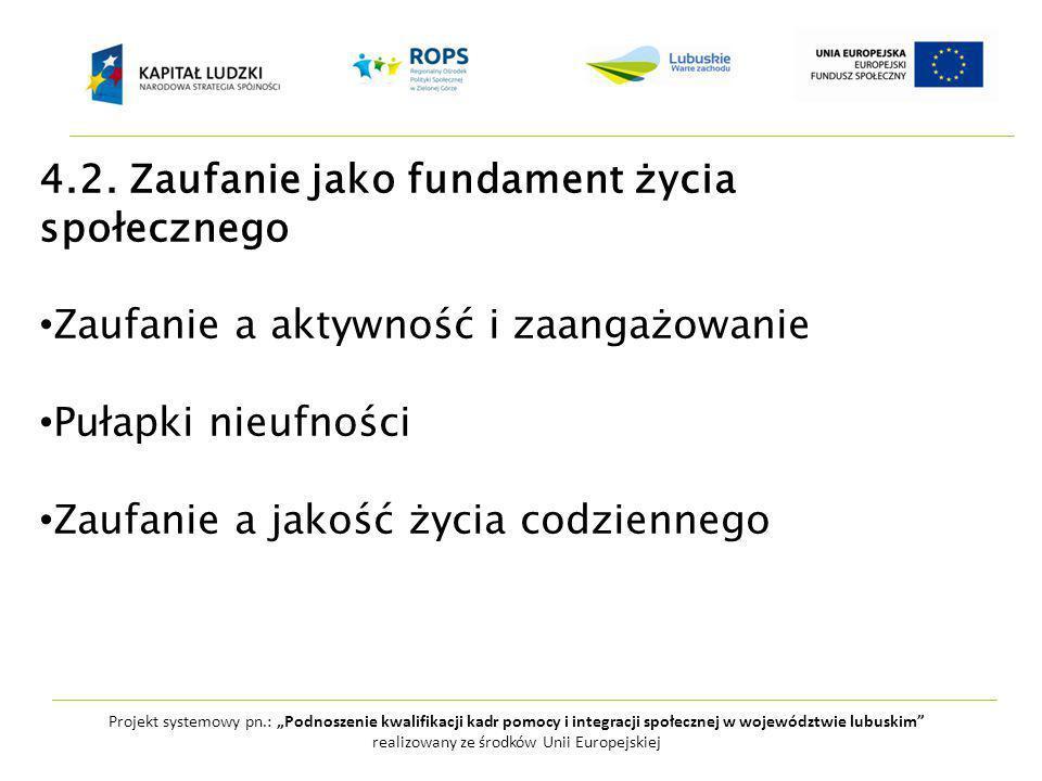 """Projekt systemowy pn.: """"Podnoszenie kwalifikacji kadr pomocy i integracji społecznej w województwie lubuskim realizowany ze środków Unii Europejskiej 4.2."""