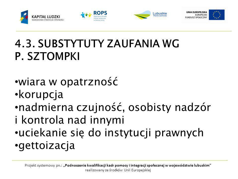 """Projekt systemowy pn.: """"Podnoszenie kwalifikacji kadr pomocy i integracji społecznej w województwie lubuskim realizowany ze środków Unii Europejskiej 4.3."""