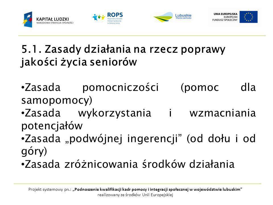 """Projekt systemowy pn.: """"Podnoszenie kwalifikacji kadr pomocy i integracji społecznej w województwie lubuskim realizowany ze środków Unii Europejskiej 5.1."""