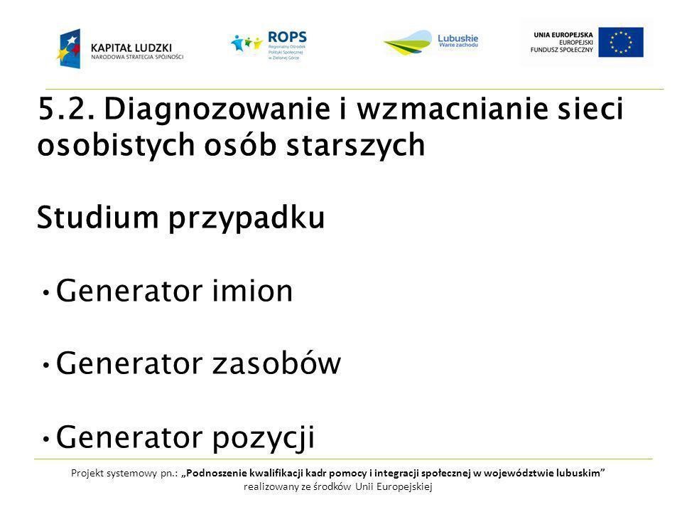 """Projekt systemowy pn.: """"Podnoszenie kwalifikacji kadr pomocy i integracji społecznej w województwie lubuskim realizowany ze środków Unii Europejskiej 5.2."""