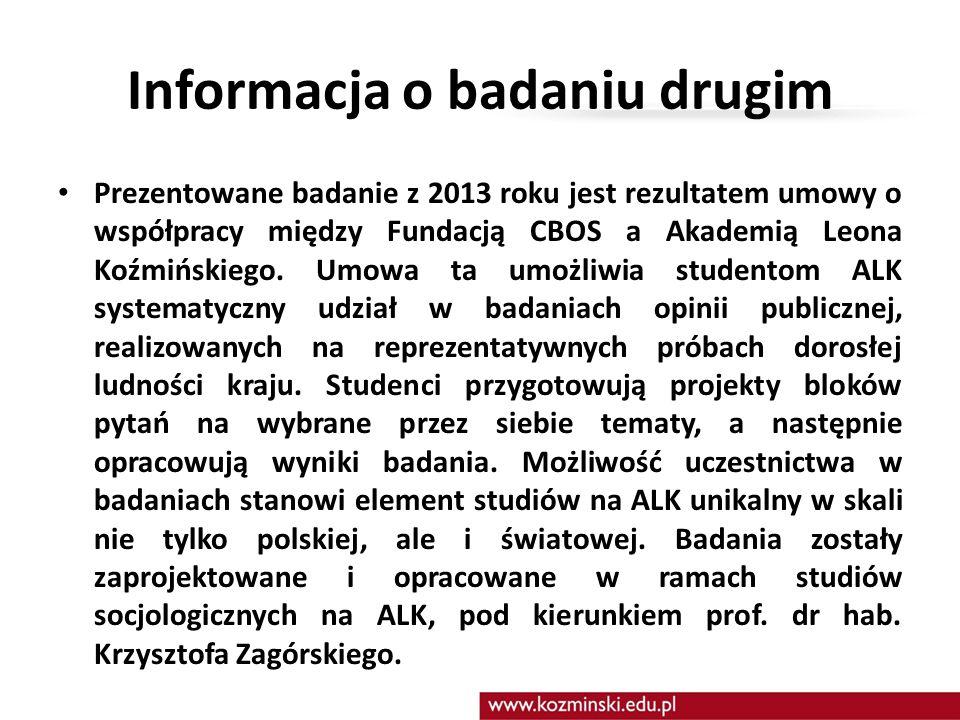 Informacja o badaniu drugim Prezentowane badanie z 2013 roku jest rezultatem umowy o współpracy między Fundacją CBOS a Akademią Leona Koźmińskiego. Um