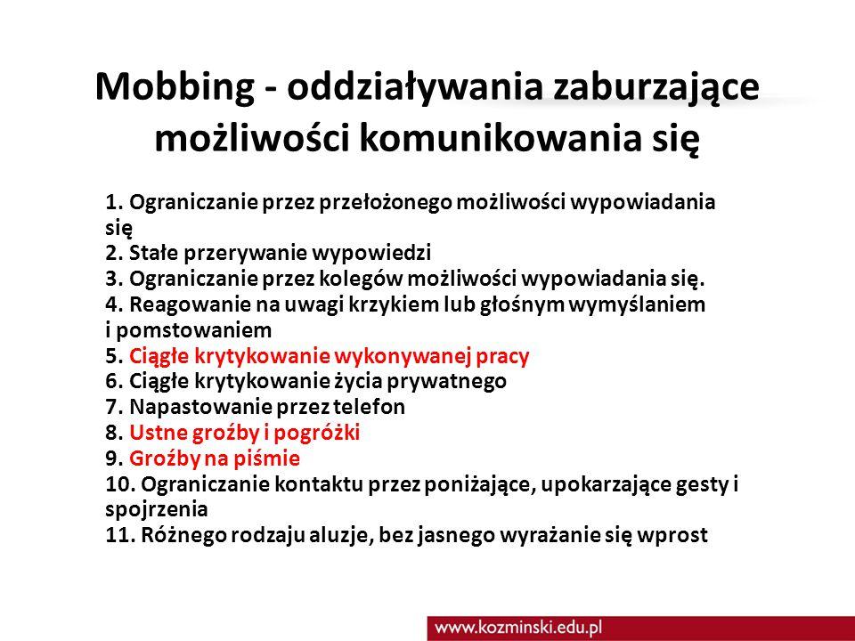Mobbing - oddziaływania zaburzające możliwości komunikowania się 1. Ograniczanie przez przełożonego możliwości wypowiadania się 2. Stałe przerywanie w