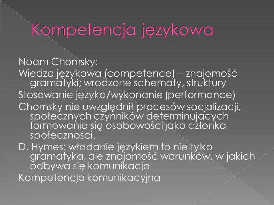 Noam Chomsky: Wiedza językowa (competence) – znajomość gramatyki; wrodzone schematy, struktury Stosowanie języka/wykonanie (performance) Chomsky nie u