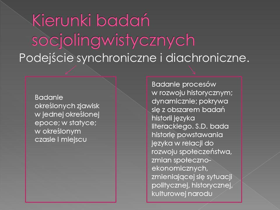 Podejście synchroniczne i diachroniczne. Badanie określonych zjawisk w jednej określonej epoce; w statyce; w określonym czasie i miejscu Badanie proce