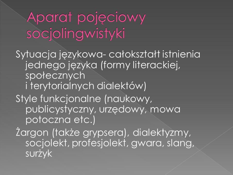 Kod językowy Dyglosja, bilingwizm, Przełączanie kodów Wspólnota językowa Środowisko językowe Socjogrupa Norma językowa Uzus języka Odmiana języka (warianty językowe)
