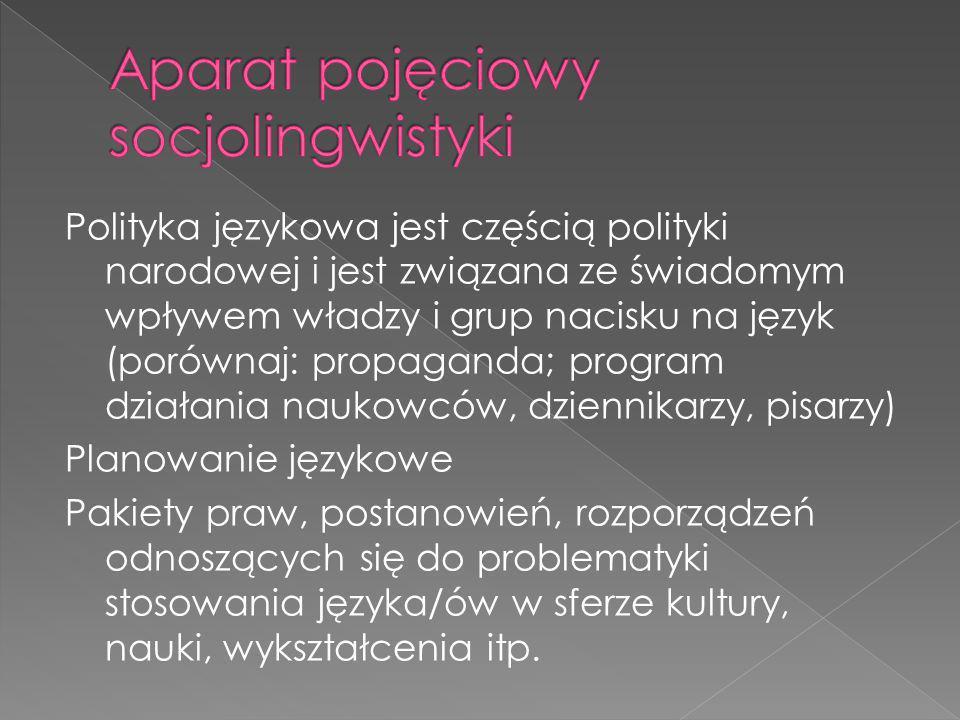 Polityka językowa jest częścią polityki narodowej i jest związana ze świadomym wpływem władzy i grup nacisku na język (porównaj: propaganda; program d