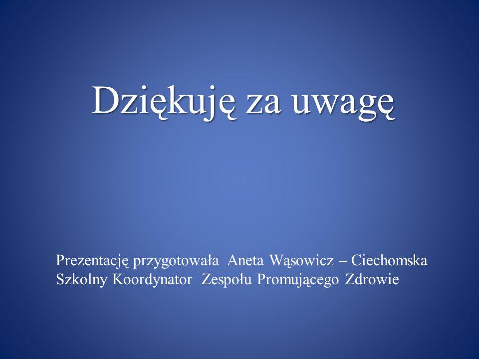 Dziękuję za uwagę Prezentację przygotowała Aneta Wąsowicz – Ciechomska Szkolny Koordynator Zespołu Promującego Zdrowie