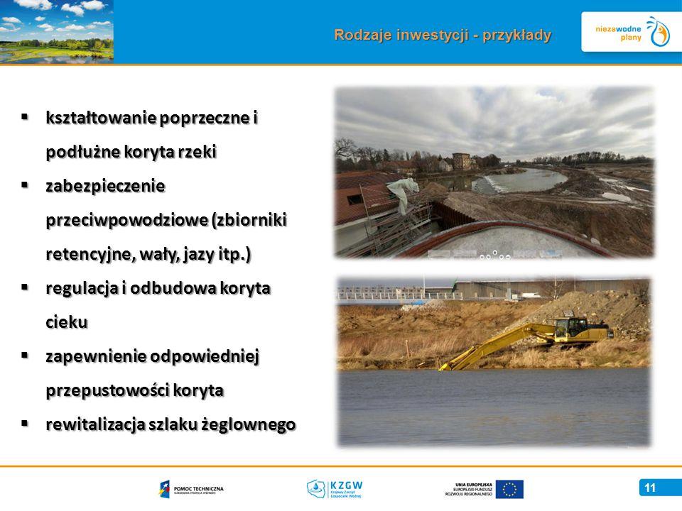 11 Rodzaje inwestycji - przykłady  kształtowanie poprzeczne i podłużne koryta rzeki  zabezpieczenie przeciwpowodziowe (zbiorniki retencyjne, wały, jazy itp.)  regulacja i odbudowa koryta cieku  zapewnienie odpowiedniej przepustowości koryta  rewitalizacja szlaku żeglownego