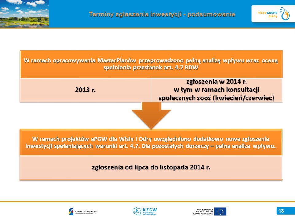 13 Terminy zgłaszania inwestycji - podsumowanie W ramach projektów aPGW dla Wisły i Odry uwzględniono dodatkowo nowe zgłoszenia inwestycji spełaniających warunki art.