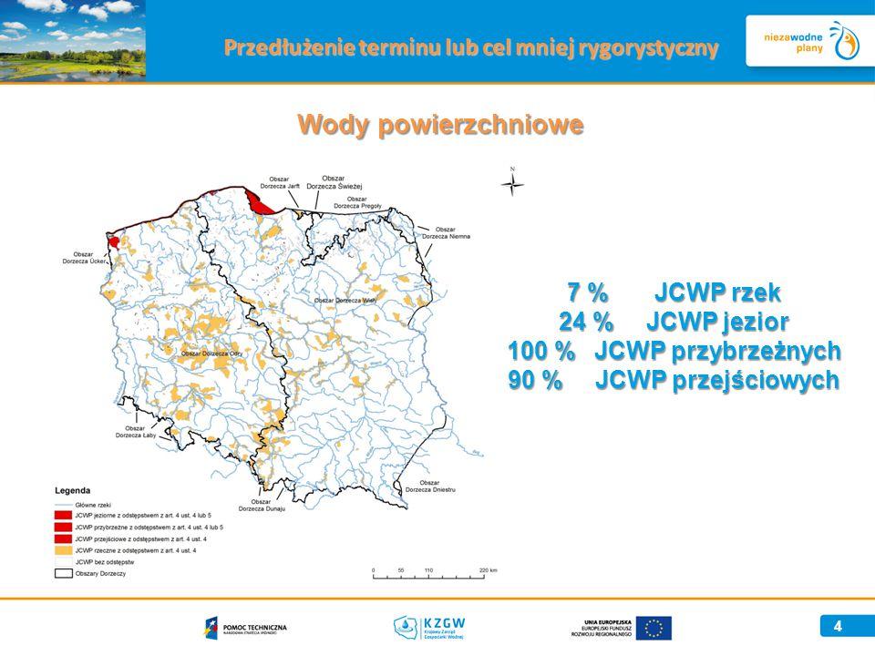 4 Wody powierzchniowe 7 %JCWP rzek 24 % JCWP jezior 100 %JCWP przybrzeżnych 90 %JCWP przejściowych Przedłużenie terminu lub cel mniej rygorystyczny