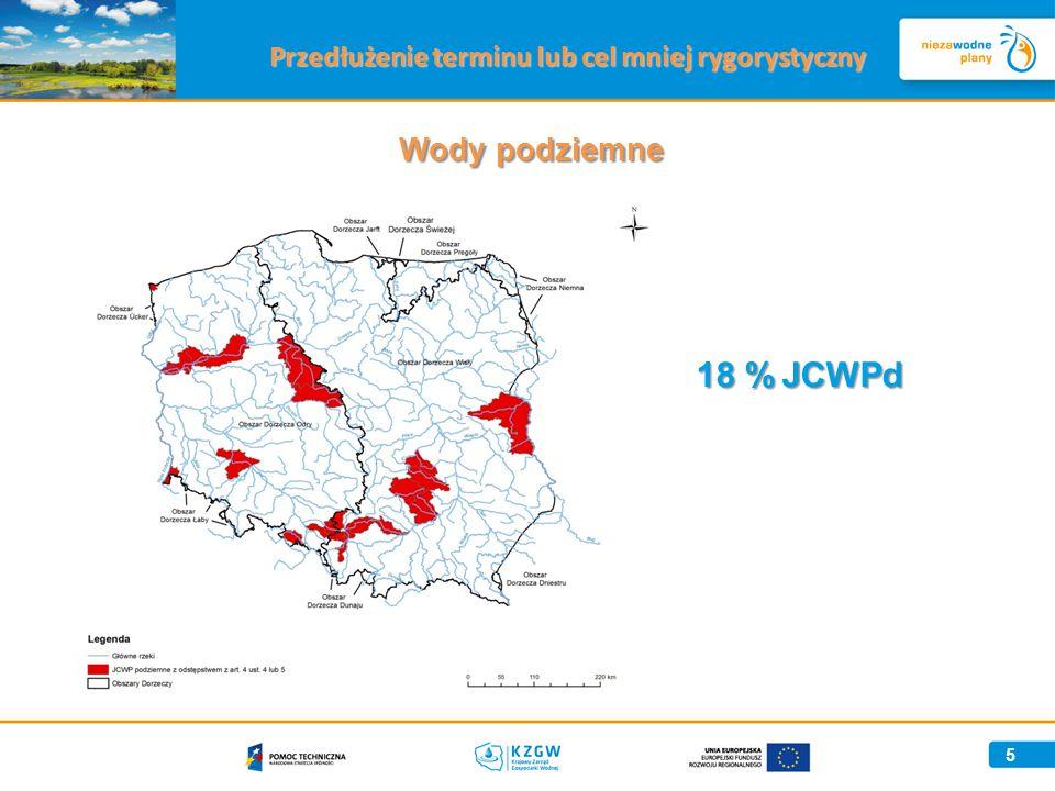 5 Wody podziemne Przedłużenie terminu lub cel mniej rygorystyczny 18 %JCWPd