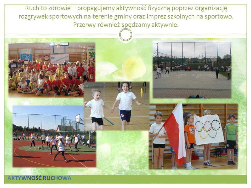 Ruch to zdrowie – propagujemy aktywność fizyczną poprzez organizację rozgrywek sportowych na terenie gminy oraz imprez szkolnych na sportowo. Przerwy