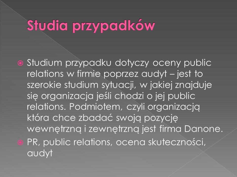  Studium przypadku dotyczy oceny public relations w firmie poprzez audyt – jest to szerokie studium sytuacji, w jakiej znajduje się organizacja jeśli
