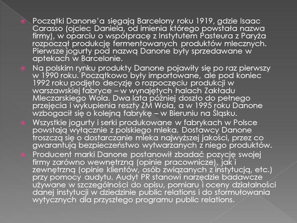  Początki Danone'a sięgają Barcelony roku 1919, gdzie Isaac Carasso (ojciec Daniela, od imienia którego powstała nazwa firmy), w oparciu o współpracę