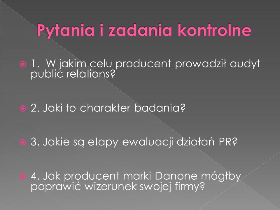  1. W jakim celu producent prowadził audyt public relations?  2. Jaki to charakter badania?  3. Jakie są etapy ewaluacji działań PR?  4. Jak produ