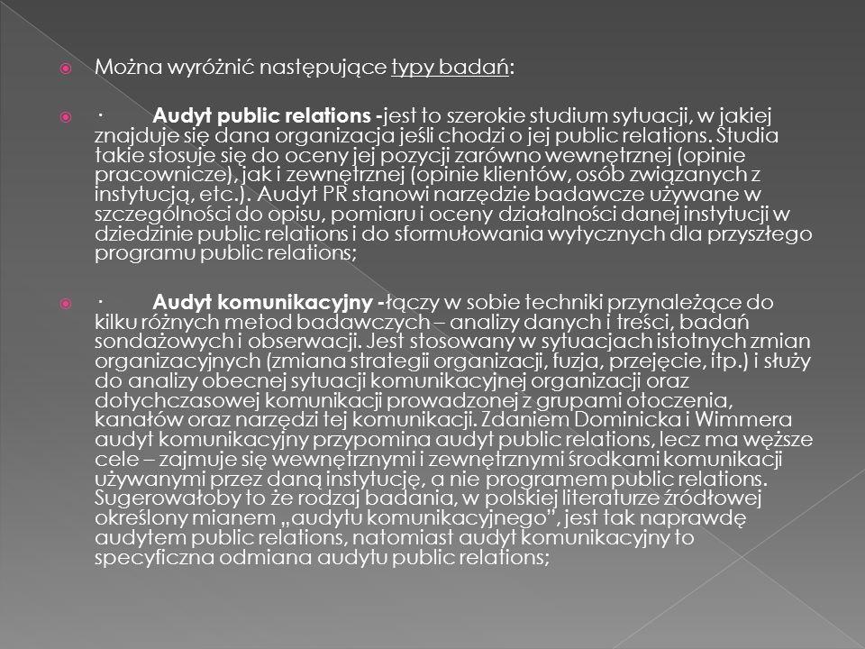  Można wyróżnić następujące typy badań:  · Audyt public relations - jest to szerokie studium sytuacji, w jakiej znajduje się dana organizacja jeśli