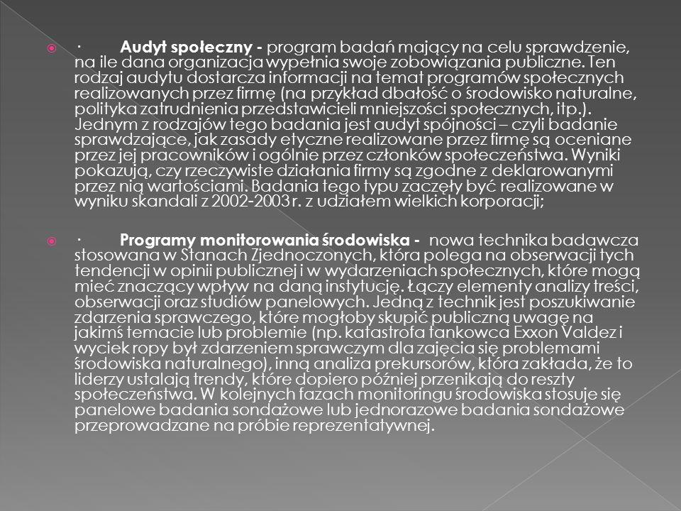 · Audyt społeczny - program badań mający na celu sprawdzenie, na ile dana organizacja wypełnia swoje zobowiązania publiczne. Ten rodzaj audytu dosta