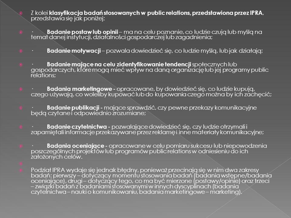  Z kolei klasyfikacja badań stosowanych w public relations, przedstawiona przez IPRA, przedstawia się jak poniżej:  · Badanie postaw lub opinii – ma