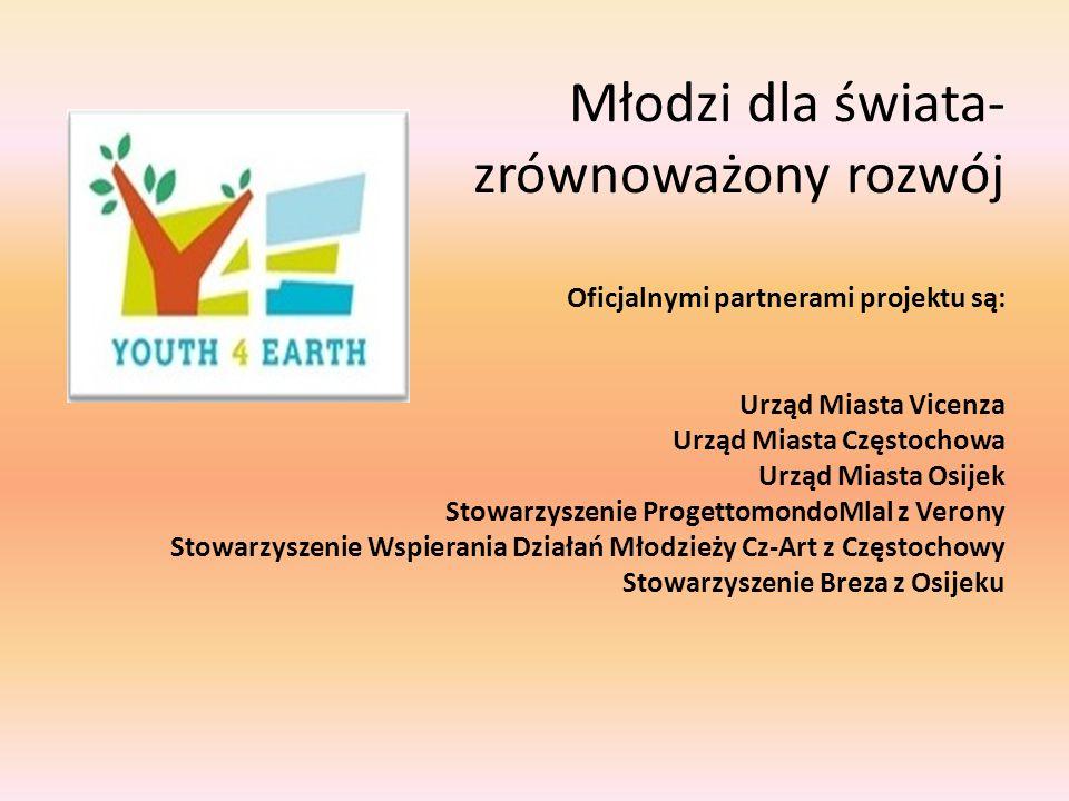 Młodzi dla świata- zrównoważony rozwój Oficjalnymi partnerami projektu są: Urząd Miasta Vicenza Urząd Miasta Częstochowa Urząd Miasta Osijek Stowarzyszenie ProgettomondoMlal z Verony Stowarzyszenie Wspierania Działań Młodzieży Cz-Art z Częstochowy Stowarzyszenie Breza z Osijeku